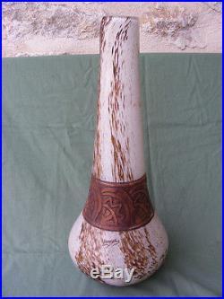 Très grand Vase ART DECO en pâte en verre signé LEGRAS