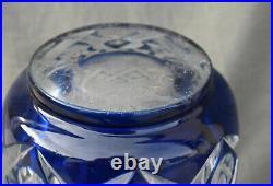 VAL SAINT LAMBERT Grand vase taillé et doublé bleu art déco