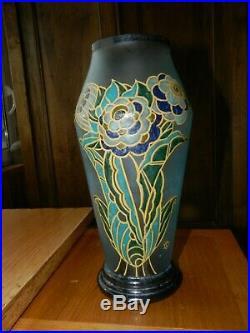 VASE Art Déco en verre émaillé LEGRAS SAINT DENIS SD modèle Athos