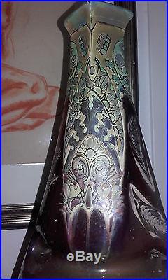 VASE IRISÉ ART DECO ART NOUVEAU 1920 signé Montières Amiens iridescent vase