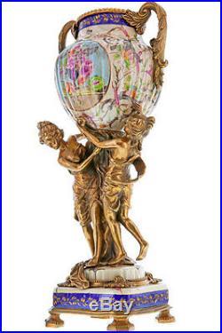 VASE RECIPIENT 50cm STYLE ART NOUVEAU DECO EN PORCELAINE BRONZE CARIATIDES