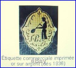 VASE ST. PREX EN VERRE SOUFLE DOUBLE doré avec anses. Signée sur etiquet VERS1936