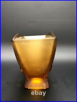 VERLYS FRANCE VASE LOVE BIRDS AMBRE art deco glass lalique daum oiseau