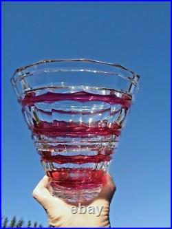 Val Saint Lambert Vase Semiramis Cristal Taillé De Couleur Coloré Rouge Art Deco