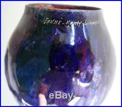 Vase 20cm emaux email cuivre FAURE MARTY LIMOGES Art Deco french enamel BONNAUD