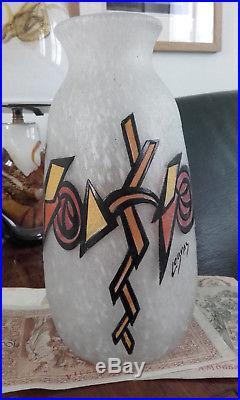 Vase ART DECO signé LEGRAS 1920 1930 dégagé à l'acide