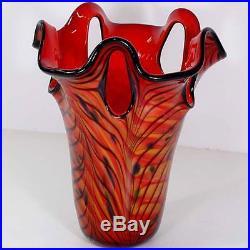 Vase A Fleurs En Verre Colore Soliflore Recipient Style Art Nouveau Deco