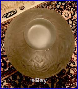 Vase Ancien René Lalique Modèle Gui Art Deco Verre Glass 1920 rare 18x17cm