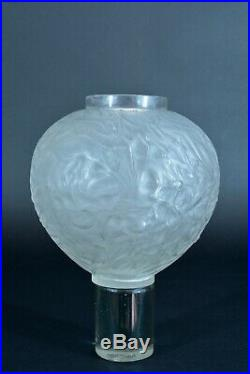 Vase Ancien Signé René Lalique Modèle Gui Art Deco Verre Glass 1920 rare