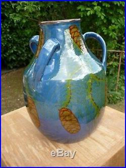 Vase Art Deco 32 CM Emile Simonod Poterie De Savoie 1930 Decor Pommes De Pin