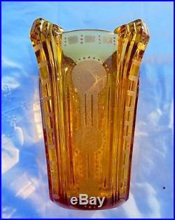 Vase Art Deco Ambre Granité, Dégagé A L'acide & Émaillé St Lambert