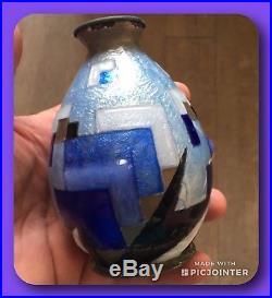 Vase Art Deco Camille FAURÉ Emaux Limoges Annees 30 Cubiste Bleu