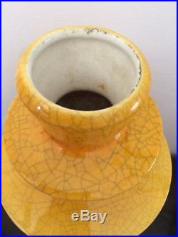 Vase Art Deco Céramique Craquelé Charles Catteau Boch