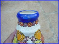 Vase Art Deco Ceramique Craquelee Emaux Cloisonnes Boch Freres Keramis Catteau