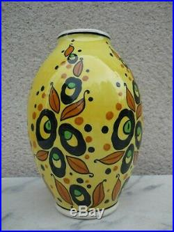 Vase Art Deco Ceramique Faience Belge Boch Freres Keramis 1930