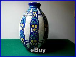 Vase Art Déco Charles Catteau Boch Frères, La Louvière, 1930, décor 952 H32cm