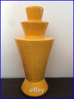 Vase Art Deco Craquele Jaune Charles Catteau Céramique