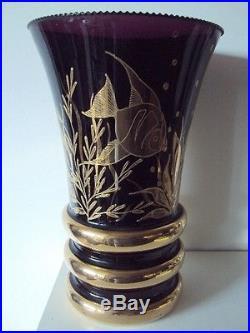 Vase Art Déco Cristal Décor Poissons Doré
