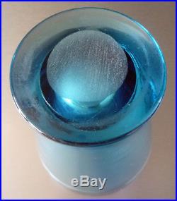 Vase Art Deco Dlg Jean Luce Verre Teinte Bleu