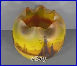 Vase Art Déco Epoque 1930 Verre Peint Signé Peynaud Décor Lacustre Jonques