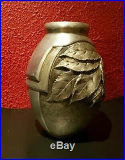 Vase Art Déco Feuilles de châtaignier 1930 Signé René SITOLEUX Orphèvre