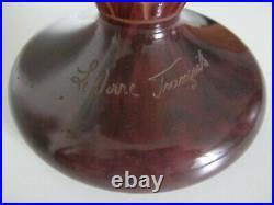 Vase Art Deco Le Verre Francais Schneider Modele Aux Epinettes/old Glass Vase