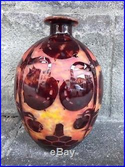 Vase Art Déco Le Verre Français Schneider à décor de Marrons