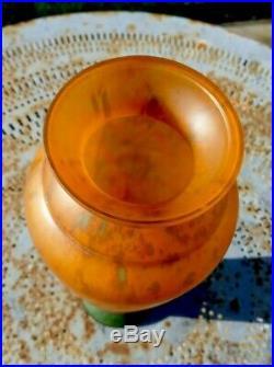 Vase Art Déco Lorrain pâte de verre, dlg Daum Nancy, Legras, Gallé, Muller, Schneider
