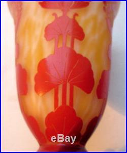 Vase Art Déco SCHNEIDER, multicouche, signé Le Verre Français Ombellifères