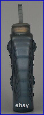 Vase Art Déco Verre moulé et pressé bleu, à décor de roses