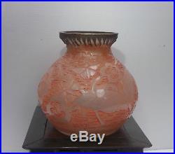 Vase Art Deco Verrerie D'Art Lorrain Val Daum décor gravé à l'acide