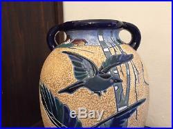 Vase Art Deco années 1930 cubisme faïence tchécoslovaque Amphora