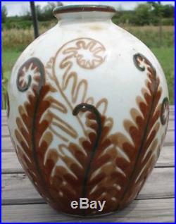 Vase Art Deco aux Fougères signé THARAUD LIMOGES