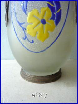 Vase Art Déco en verre granité, fleurs et étain, signé d'Argyl, années 20-30
