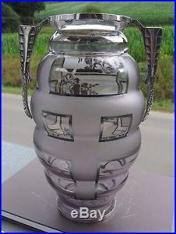 Vase Art Déco signé d'ARGYL Verre Violet Monture Argentée