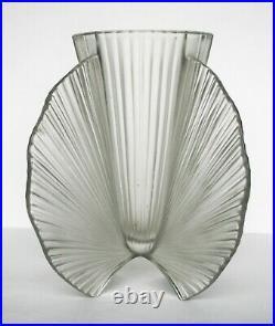 Vase Art Déco verre pressé moulé Pierre D'AVESN 1930 Signé