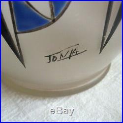 Vase Art déco verre émaillé JOMA rouge et bleu. French Art deco vase