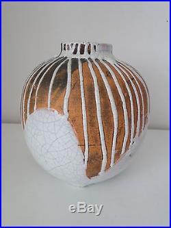 Vase Boule Art Deco Primavera N° 8794 Grès Céramique 1930 Blanc Marron (b979)