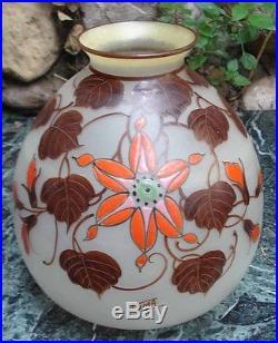 -Vase Boule Art Deco en Verre émaillé