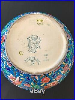 Vase Boule Art -déco De Longwy à Décor Floral