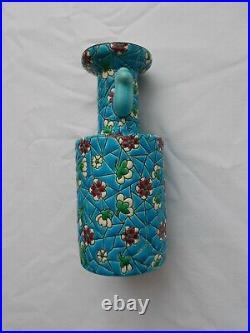 Vase Bouteille Emaux Polychrome Longwy Art Deco 1246 Asiatique Japonisant