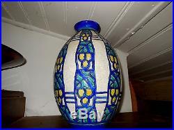 Vase CHARLES CATTEAU Art Déco, décor géométrique polychrome 1930, H 32 cm