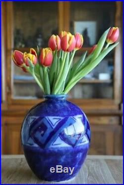 Vase Camille THARAUD en porcelaine émaillée art deco signe