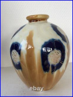 Vase Camille Tharaud décor fleurs art déco années 30