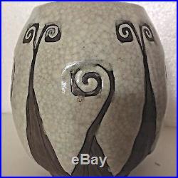 Vase Céramique CHARLES CATTEAU Grès Keramis décor 775 Maïs, Art Deco BOCH