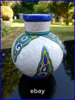 Vase Ceramique Craquelee Emaux Cloisonnes Art Deco Boch Freres Keramis No Gres