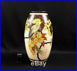 Vase Céramique Keramis Art Déco Perruche Oiseau Stylisé