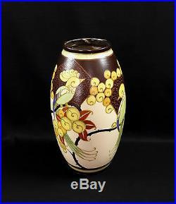Vase Céramique Keramis Art Déco Perruche Oiseau Stylisé Catteau