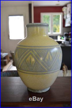 Vase Craquelé Signé Georges Jaéglé Décor Géométrique Art Déco Lachenal H 28cm