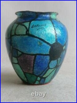 Vase Cuivre Emaillee Limoges Art Deco Signe Enamel Vase On Copper 1930 C Faure